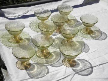 cracky crackle pattern pressed glass sherbets, vintage depression glass