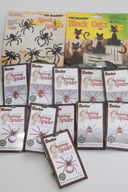 craft kits lot Christmas Spiders ornaments & spider & black cat Halloween decorations