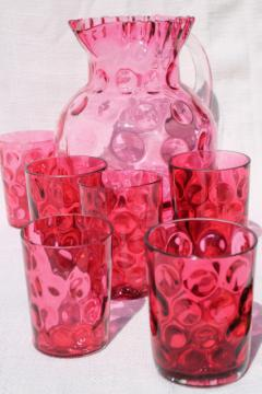 cranberry glass thumbprint pattern vintage lemonade pitcher & tumblers