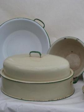 cream / jadite green vintage enamelware turkey roaster, pan & bowl
