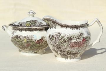 cream pitcher & sugar bowl set, vintage Johnson Bros Friendly Village china