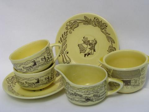 cream & sugar, cups & saucers vintage Bucks County folk art pattern Royal china