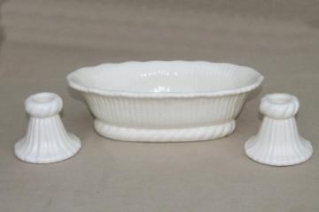 creamy white pottery flower planter & candle sticks, vintage Haeger console set