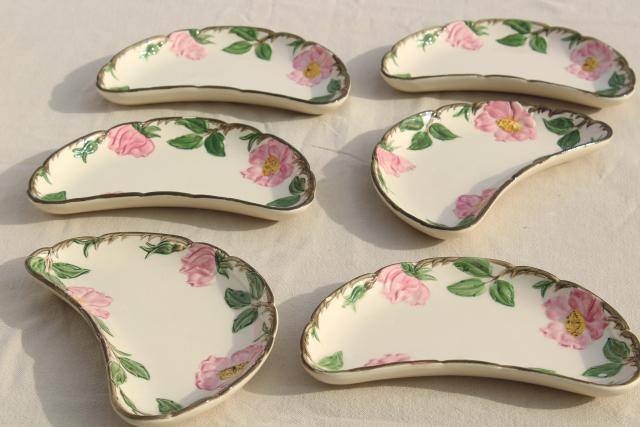crescent shaped salad plates / side dishes vintage Franciscan Desert Rose & crescent shaped salad plates / side dishes vintage Franciscan ...