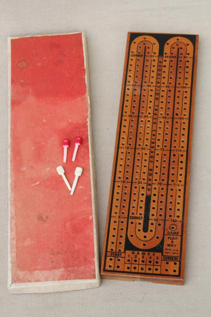 Cribbage Board Lot 4 Vintage Wood Card Game Boards W