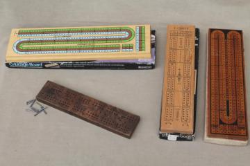 cribbage board lot, 4 vintage wood   card game  boards w/ pegs Drueke