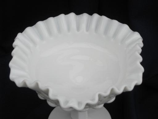 crimped ruffle compote Westmoreland paneled grape vintage milk glass