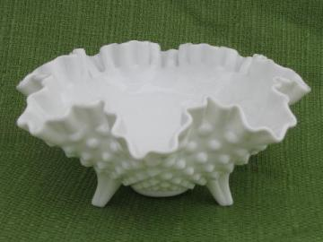 crimped ruffle footed hobnail milk glass flower bowl, vintage Fenton