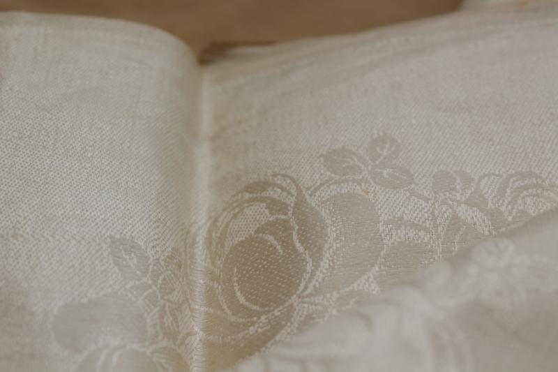 crisp linen damask fabric unused vintage yardage for napkins or towels