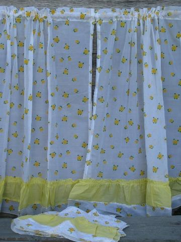 crisp white kitchen curtains w yellow flocked flowers 1960s vintage
