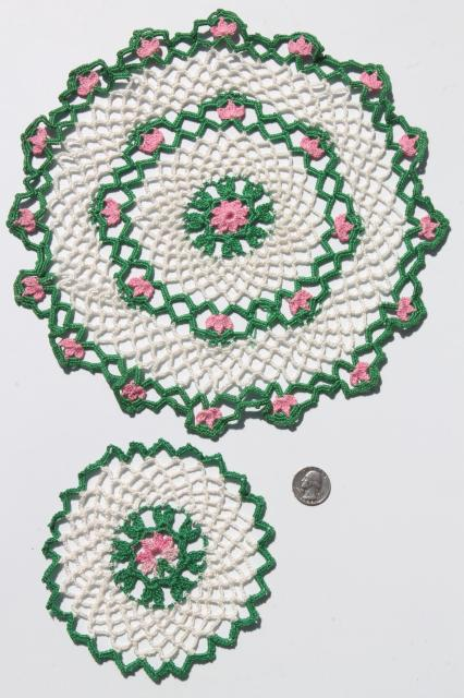 crochet flower doily lot, vintage lace doilies pretty colored thread flowers
