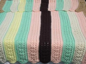 crocheted stripes afghan, vintage candy mint pastels w/ chocolate brown