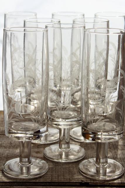 crystal clear etched glass beer glasses, wheat pattern vintage stemware set
