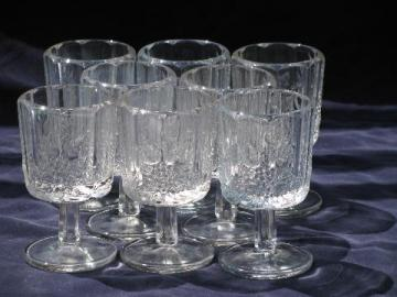 crystal clear glass vintage Paneled Grape wine glasses, marked Westmoreland