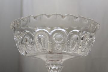 crystal clear moon and stars pattern glass compote bowl, vintage pressed glass