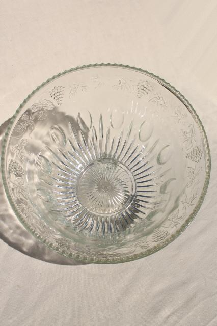 crystal clear pressed glass harvest grapes pattern punch bowl & cups set, vintage wedding glassware
