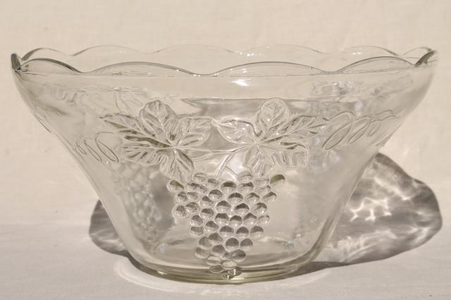 Crystal Clear Pressed Glass Harvest Grapes Pattern Punch