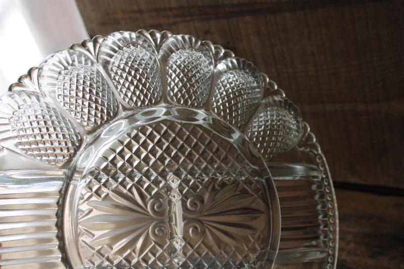 crystal clear pressed glass tray, deviled egg / relish plate, vintage serving dish