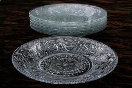 Crystal Clear Sandwich Pattern Glass Plates Vintage Tiara