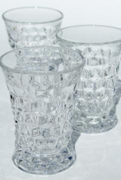 crystal clear vintage Fostoria American pattern pressed glass tumblers, iced tea drinking glasses
