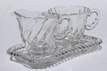 crystal clear vintage Fostoria Colony glass mini cream & sugar set w/ tray