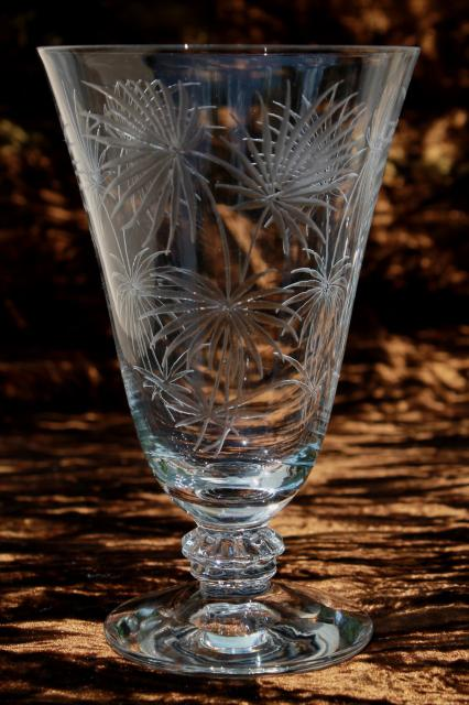 Crystal Clear Vintage Fostoria Etched Glass Lido Footed
