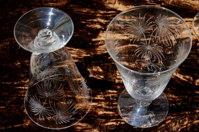 Antique Etched Crystal Parfait Glasses