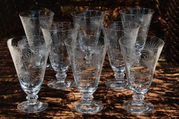 crystal clear vintage Fostoria etched glass Lido footed tumblers, 8 iced tea glasses