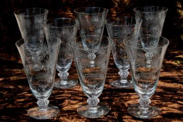 crystal clear vintage Fostoria etched glass Lido footed tumblers, 8 juice glasses