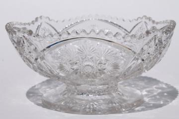 crystal clear vintage Nu Cut snowflake pattern pressed glass bowl, Imperial NuCut