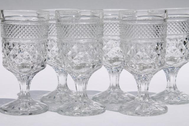 Crystal Clear Vintage Wexford Waffle Pattern Anchor Hocking Wine