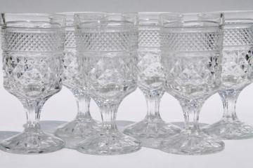 crystal clear vintage Wexford waffle pattern Anchor Hocking wine glasses
