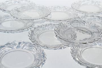 crystal clear vintage elegant glass Cambridge Caprice salad plates, set of 10