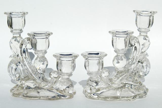 crystal clear vintage elegant glass candelabra, Cambridge Caprice cascade candle holders