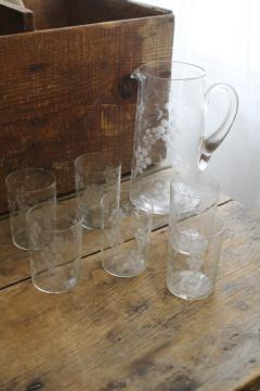crystal clear vintage etched glass lemonade set, wheel cut grapes pitcher & drinking glasses