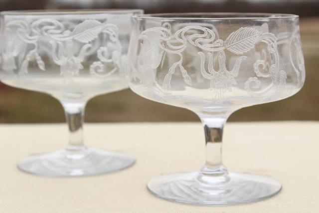 Crystal Clear Vintage Fuchsia Floral Etched Glass