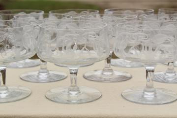 crystal clear vintage fuchsia floral etched glass champagne glasses, low coupe champagnes