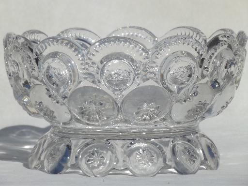 Excellent crystal clear vintage moon & stars pattern glass, footed bowl for  XX01