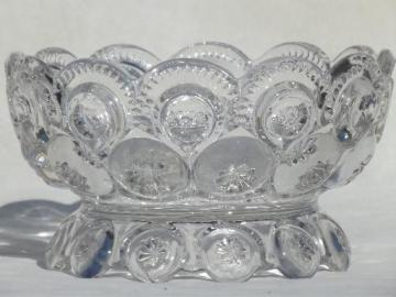 crystal clear vintage moon & stars pattern glass, footed bowl for flowers