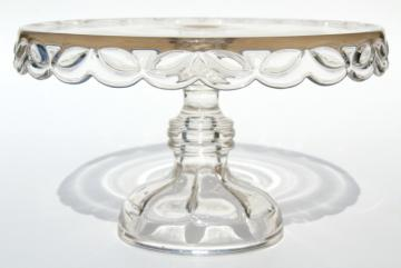 crystal clear vintage pressed glass cake stand, laurel leaf wreath pedestal plate
