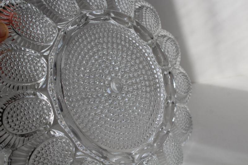 crystal clear vintage pressed glass egg plate, serving tray for deviled eggs