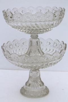 crystal clear vintage pressed pattern glass compotes, large & small pedestal bowls