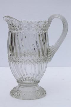 crystal clear vintage pressed pattern glass pitcher, L G Wright Jersey swirl glass