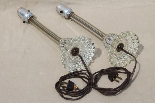 Crystal Glass Boudoir Lamps, Hollywood Regency Art Deco
