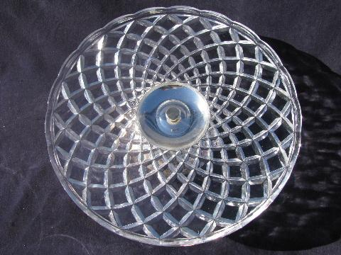 crystal glass cake plate with silver plated stand, West Germany