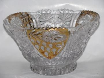 crystal glass fruit bowl w/ gold, strawberry flower & currant or gooseberry