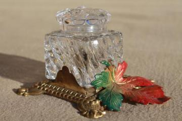 crystal glass ink well bottle w/ ornate enameled gilt metal or brass stand
