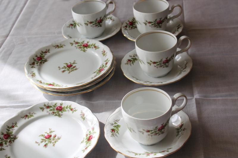 cup & saucer and plate trios Moss Rose pink roses china Johann Haviland Traditions