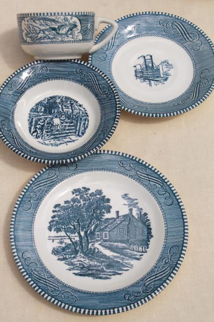 cups \u0026 saucers bowls salad plates - vintage Royal china Currier \u0026 Ives pattern in blue : royal china dinnerware patterns - pezcame.com