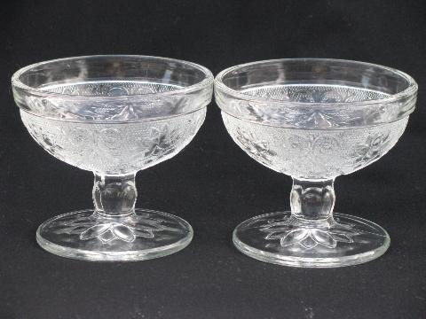 cups & saucers, sherbets - vintage sandwich pressed glass, old Indiana daisy pattern